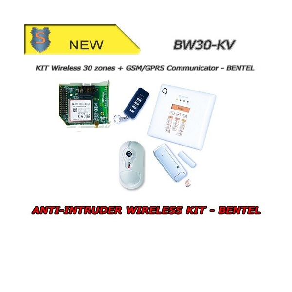 Kit Centrale Wireless Completo PIR 30 Zone + Comunicatore - Antifurto Sicurezza - Bentel