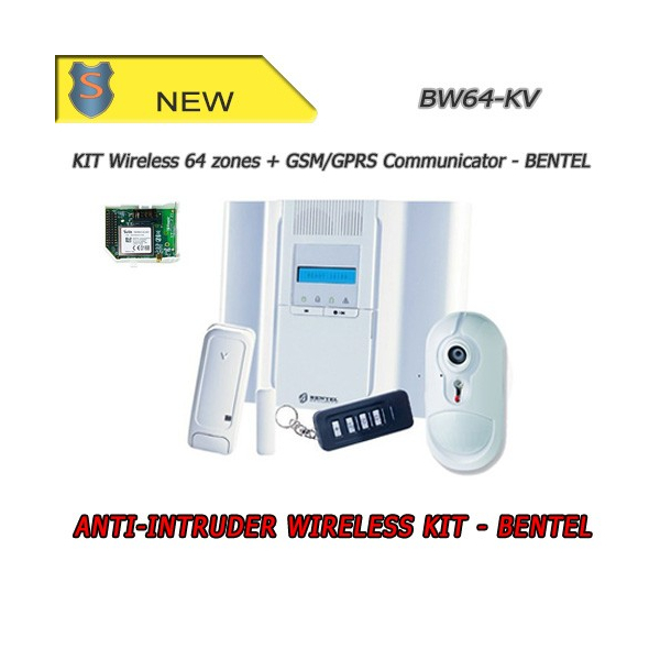 Kit Centrale Wireless Completo PIR 64 Zone + Comunicatore - Antifurto Sicurezza - Bentel