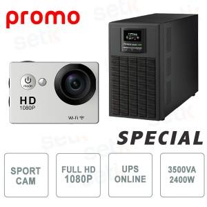 Kit Gruppo di Continuità UPS 3500 Online + Telecamera Sportiva 1080P WiFi - Setik