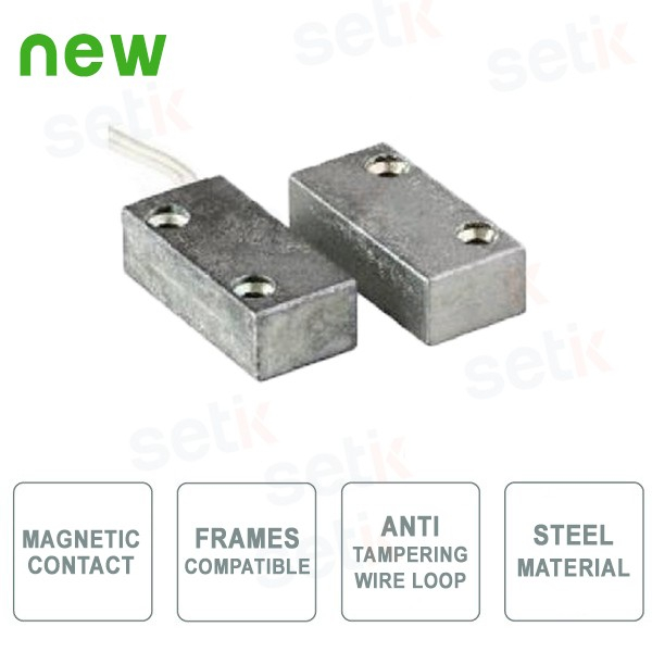 Wired small magnetic contact - Exposed assembly - Anti-tampering Loop - Steel colour