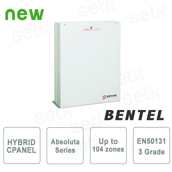 ABSOLUTA CONTROL PANEL EN GR3 A 104 ZONES - WITH BOX AND POWER SUPPLY- BENTEL - ABS-104GR3