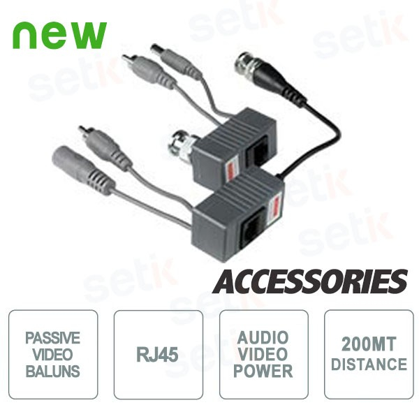 Passive RJ45 Video Baluns Audio+Video+Power 200mt.