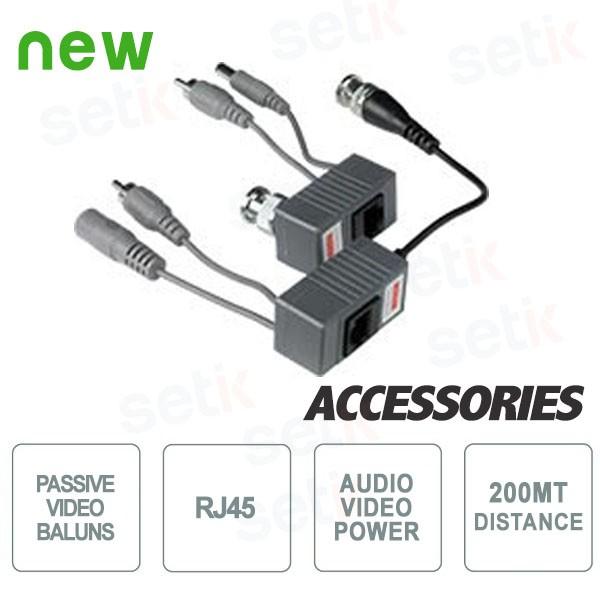 Video Balun passivi RJ45 Audio+Video+Alimentazione 200Mt.