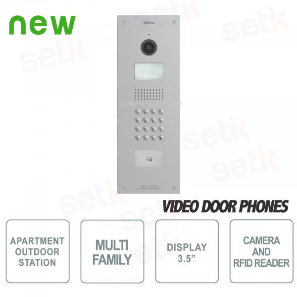 Postazione Esterna Multi-Famigliare con Telecamera, Display LCD, Lettore Card RFID e Tastierino Numerico - Antivandalo - Dahua