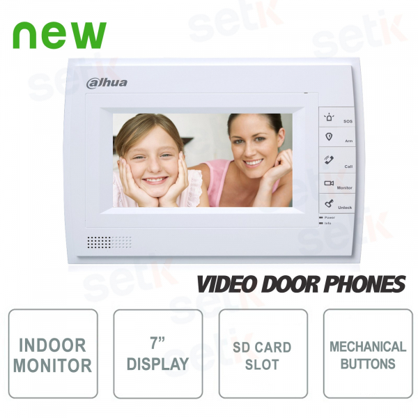 """Communicating Indoor Station- Display 7"""" Touch + Buttons- Slot SD Card - Dahua"""