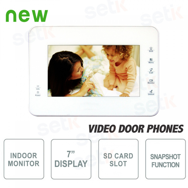 """Internal Intercom Station - 7 """"Touch Display + SD Card Slot and Snapshot Function - White"""