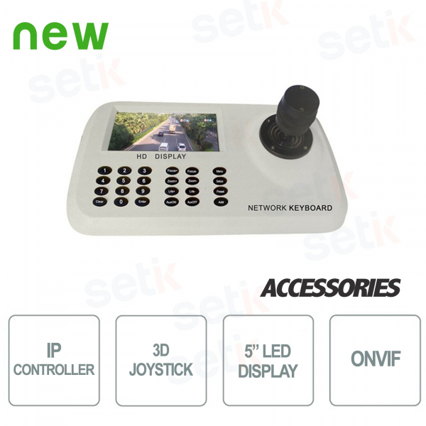 "Controller IP cwith keyboard for PTZ cameras - Display LED 5"" - Setik"