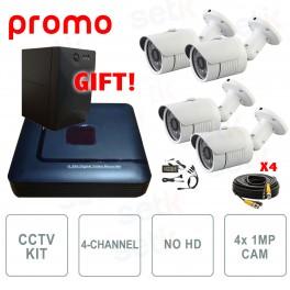Kit Videosorveglianza 4 Canali AHD 720P 1Mpx Setik + UPS Omaggio!
