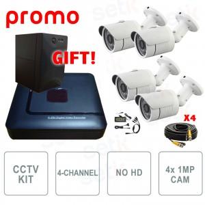 Video Surveillance Kit 4-Channel AHD 720P 1Mp + UPS For Free - Setik