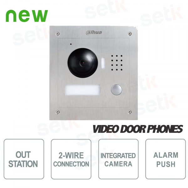 External station in two-wire steel with 1.3Mp 120 ° Camera and Lighting - Vandalproof - Dahua