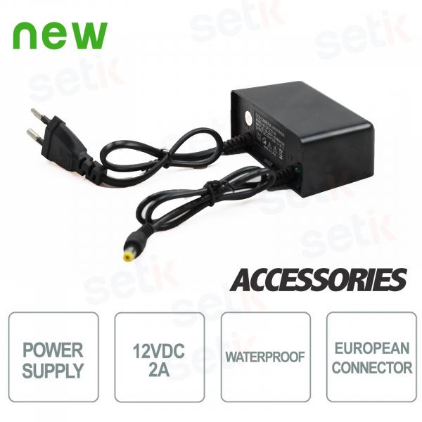 12V 2A power supply for CCTV cameras. Waterproof - Setik