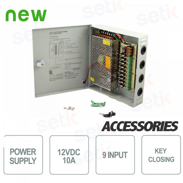 Power Supply Box 12V 10A - 9 Connections - Setik