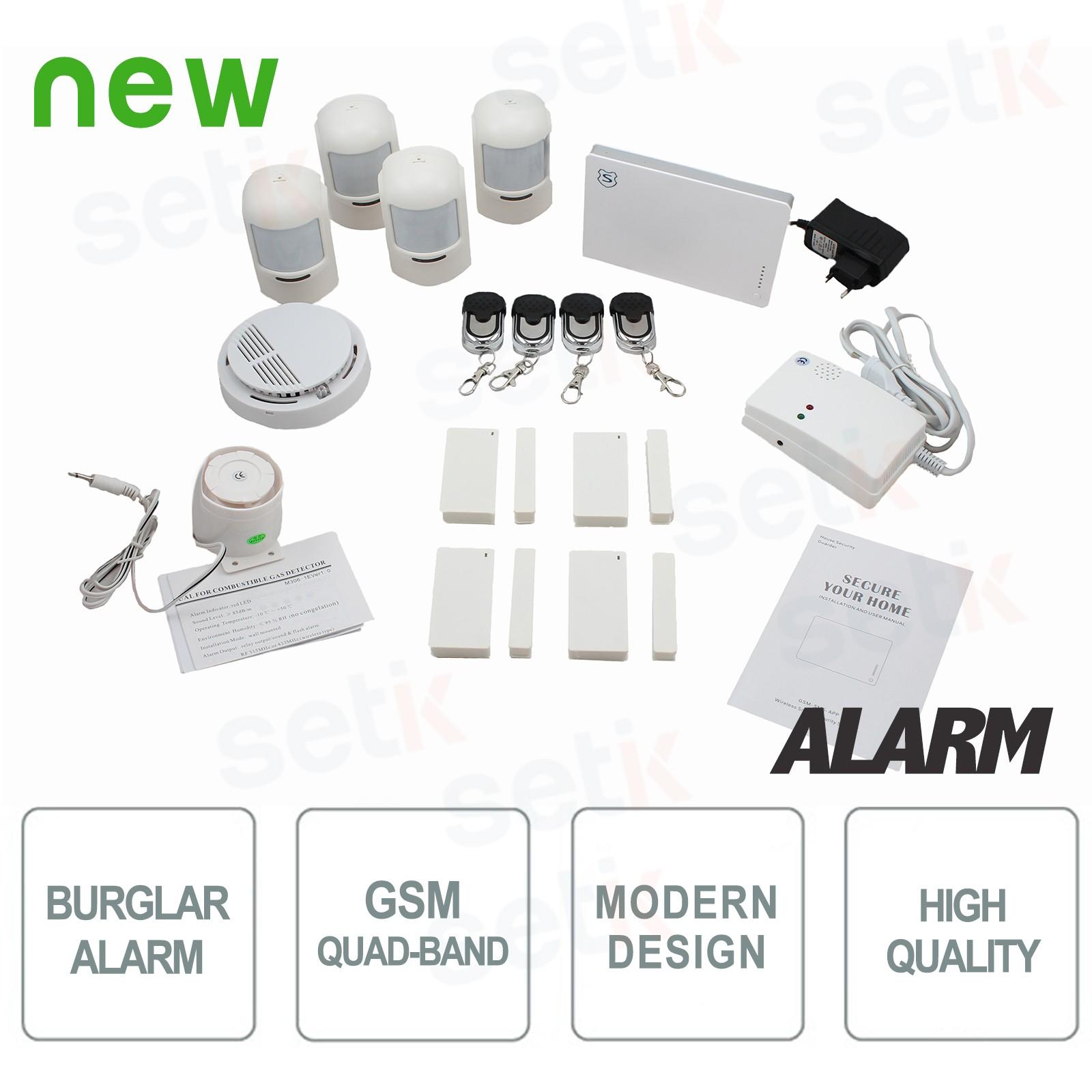 Antivol alarme pour la maison sans fil complet gsm setik for Alarme antivol maison