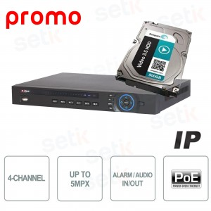 4 Channels NVR - up to 5Mpx 200Mpbs PoE + HDD 500GB - DAHUA