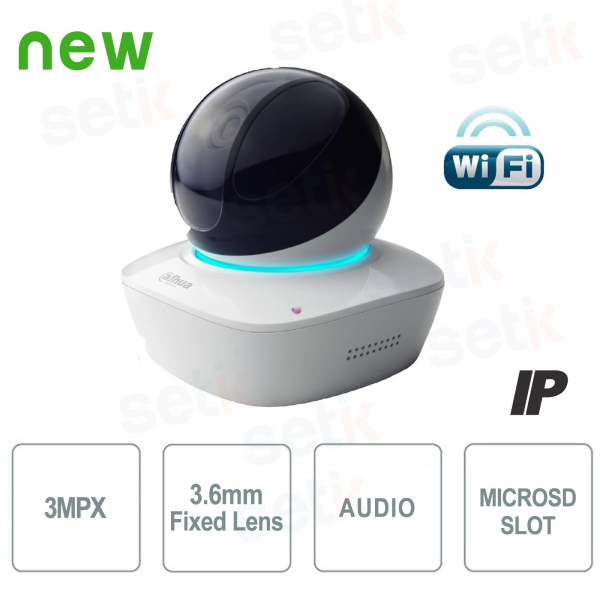 Telecamera IP Da Interno PT 3MP HD Wireless IR - WiFi Serie - Dahua