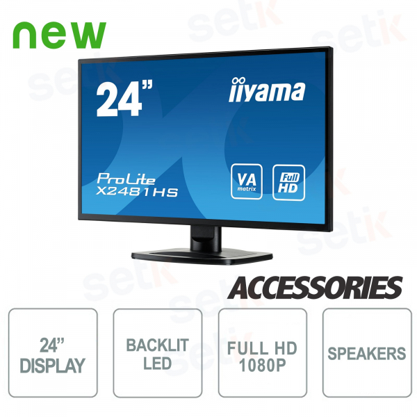 "Monitor ProLite 24"" Full HD VA - DVI-D - HDMI - Speaker - Vesa Mounting - IIYAMA"