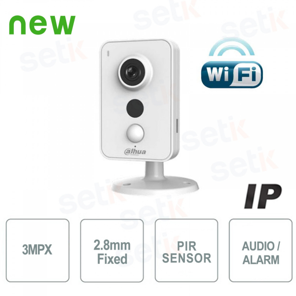 IP Network Wi-Fi Camera 3MP 2.8mm IR Audio Alarm - Cube Series - Dahua