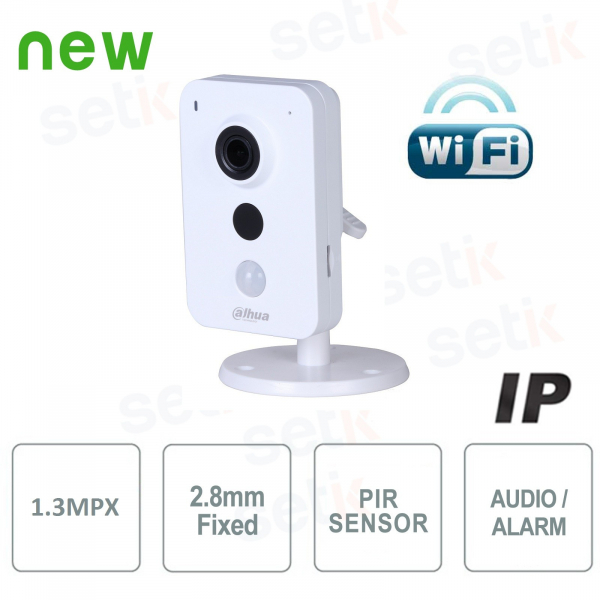 Telecamera IP WiFi 1,3MP 2.8mm IR Allarme Audio - Serie Cube - Dahua