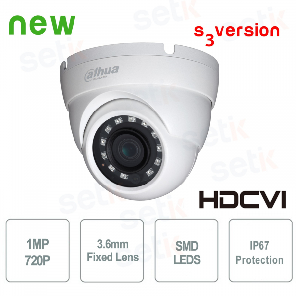 Telecamere Dome HDCVI 1MP 720P 3.6mm IP67 SMD - Lite - Dahua