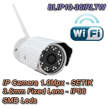 Telecamera IP 1Mpx 3.6mm Dual Core DSP IP66 Wireless Videosorveglianza