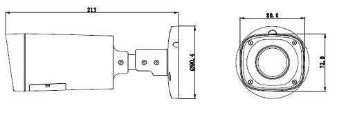 Diagram of the size of the  HAC-HFW2120R-Z camera for surveillance Dahua