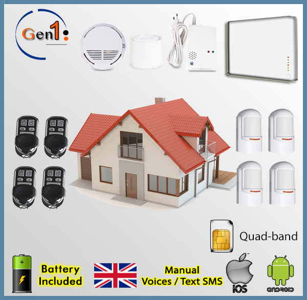 home security wireless domestic alarm kit antitheft gsm al kit4w gen1 ebay. Black Bedroom Furniture Sets. Home Design Ideas