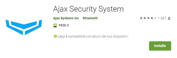 Ajax Security System Applicazione Mobile