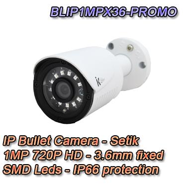 Telecamera Videosorveglianza IP Bullet HD 1MP 720P 3.6mm SMD leds