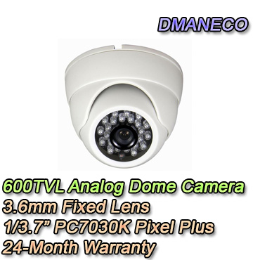 Telecamera analogica con risoluzione 600TVL e ottica fissa 3.6mm.