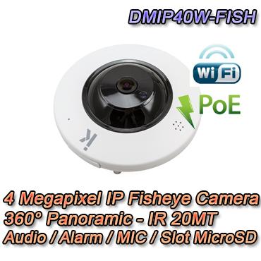 Telecamera panoramica IP con risoluzione 4MP e ottica fissa 1.05mm