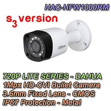 Telecamera Bullet HDCVI 1Mpx 720P 3.6mm. Protezione IP67. Metallo