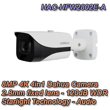 Telecamera Bullet con risoluzione 8MP e ottica fissa 2.8mm