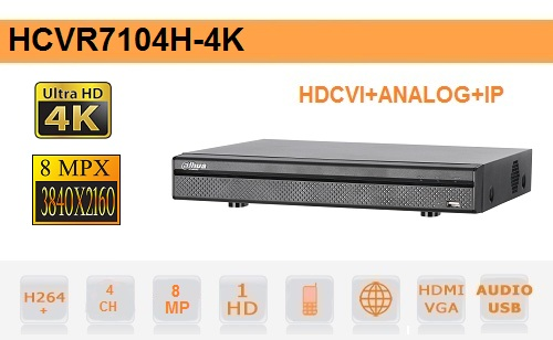 DVR Dahua 4 Canali Hdcvi+Analogico+Ip 8MP