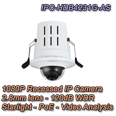 Telecamera da interno da incasso dahua 2mp 2,8mm Starlight poe