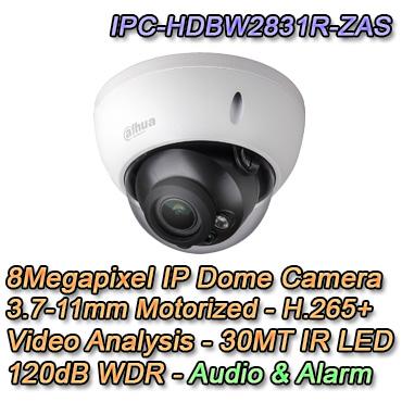 Telecamera IP Dome con risoluzione 8MP e ottica varifocale 3.7-11mm Motorizzata. IR LED 30MT Smart H.265+, Video Analisi, Slot microsd