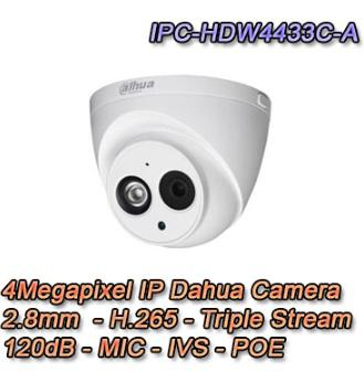 Telecamera IP Dahua dome 4Megapixel 2.8mm IVS WDR 120dB POE Microfono