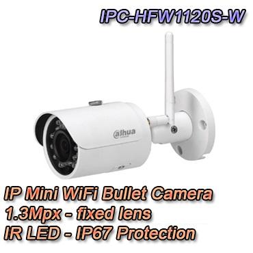 Telecamera Mini Bullet WiFi con risoluzione 1.3Mpx e ottica fissa 3.6mm. IP67