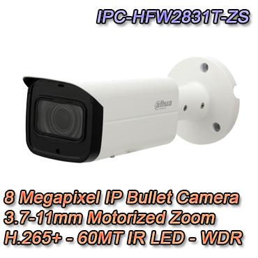 Telecamera IP Bullet con risoluzione 8MP e ottica varifocale 3.7-11mm Motorizzata. IR LED 60MT Smart H.265+, Video Analisi, Slot microsd
