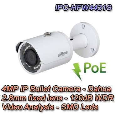 Telecamera Bullet 4MP 2.8mm Video Analisi H.265
