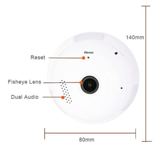 Dimensioni della telecamera a lampadina LAMP720P