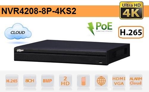 NVR 8 Canali fino a 8MP - Serie 4K Ultra HD - PoE - Dahua