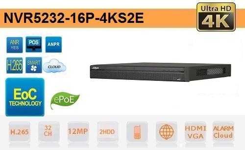 NVR 32 Canali 4K & H.265 Fino a 12 megapixel EPOE EOC