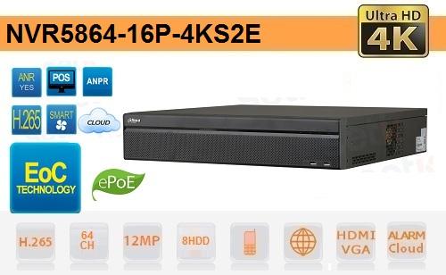 NVR 64 Canali 4K & H.265 Fino a 12 megapixel EPOE EOC