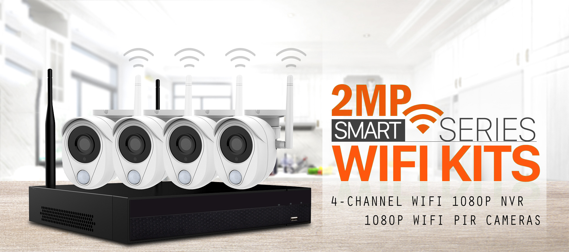Kit Videosorveglianza IP Wifi 2MP Smart Kit allarme casa