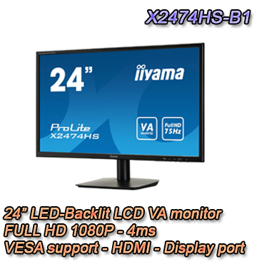 "Monitor LED da 24"". 1080P FULL HD"